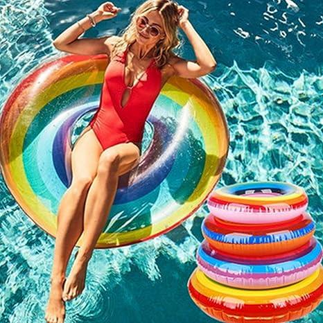 Naisidier Inflable Nadar Anillo Piscina Flotador para Niños Adultos Arco Iris Nadar Tubo Verano Playa Piscina
