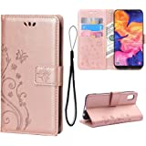 Teebo Wallet Case for Samsung Galaxy A10E Card Holder Embossed Butterfly Flower Premium PU Leather Stand Phone Cases Flip Cov