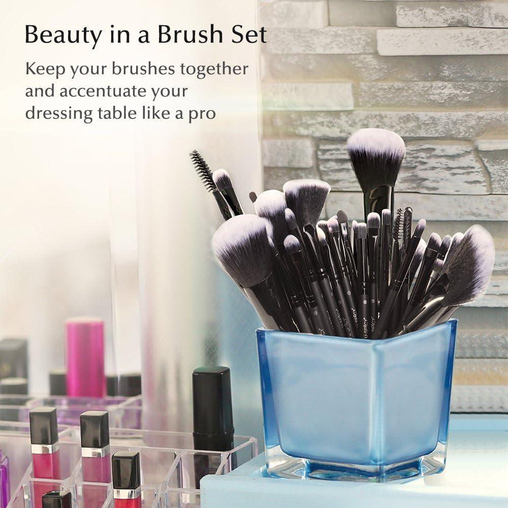 USpicy Brochas Maquillaje Profesional 32pcs, Set Cepillos de Maquillaje Comésticos para Sombra de Ojos, Colorete, Polvo y Cejas con Bolsa de Viaje: Amazon.es: Belleza