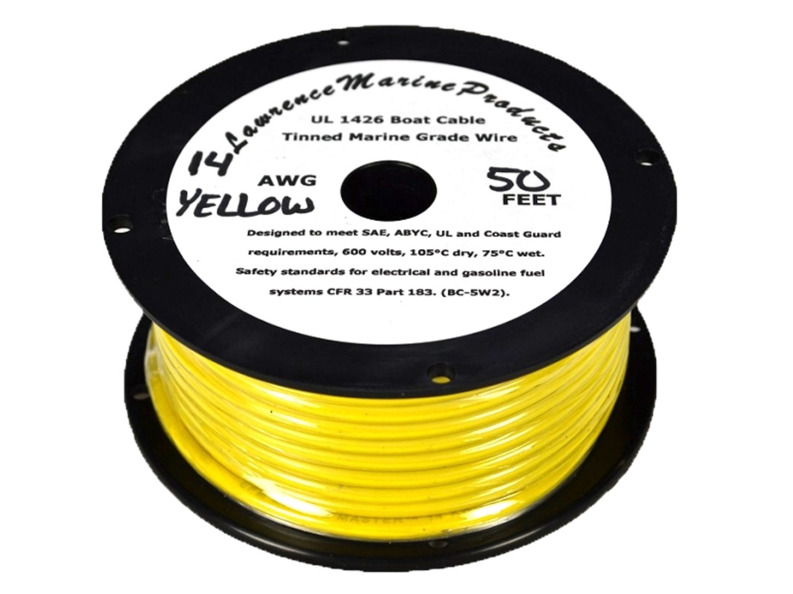 14 AWG Tinned Marine Primary Wire, Yellow, 50 Feet