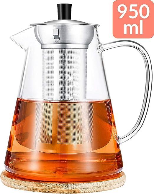 Cosumy - Tetera con filtro y platillo (950 ml, apta para lavavajillas, resistente al calor): Amazon.es: Hogar
