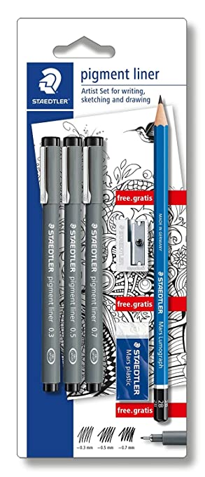 Staedtler 308 SBK3P Artist Set 3 Pigment Liner 0.3, 0.5, 0.7 und Bleistift, Spitzer, Radierer Gratis, schwarz