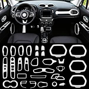Danti Car Interior Accessories Decoration Trim Air Conditioning Vent Decoration & Door Speaker & Water Cup Holder & Headlight Switch & Window Lift Button Covers for Jeep Renegade 2015-2018 (White)