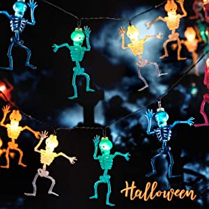 Quntis Halloween Decoration LED String Lights, 11.5Ft/3.5m 20LEDs Skeleton Fairy Lights 8 Modes Waterproof Battery Operated Skull String Lights for Halloween Indoor Outdoor Home Party Yard Decor