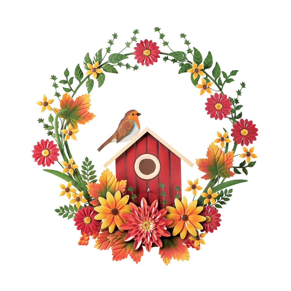 Collections Etc Birdhouse in Metal Wreath Wall Art with Flowers, Fall Home Décor