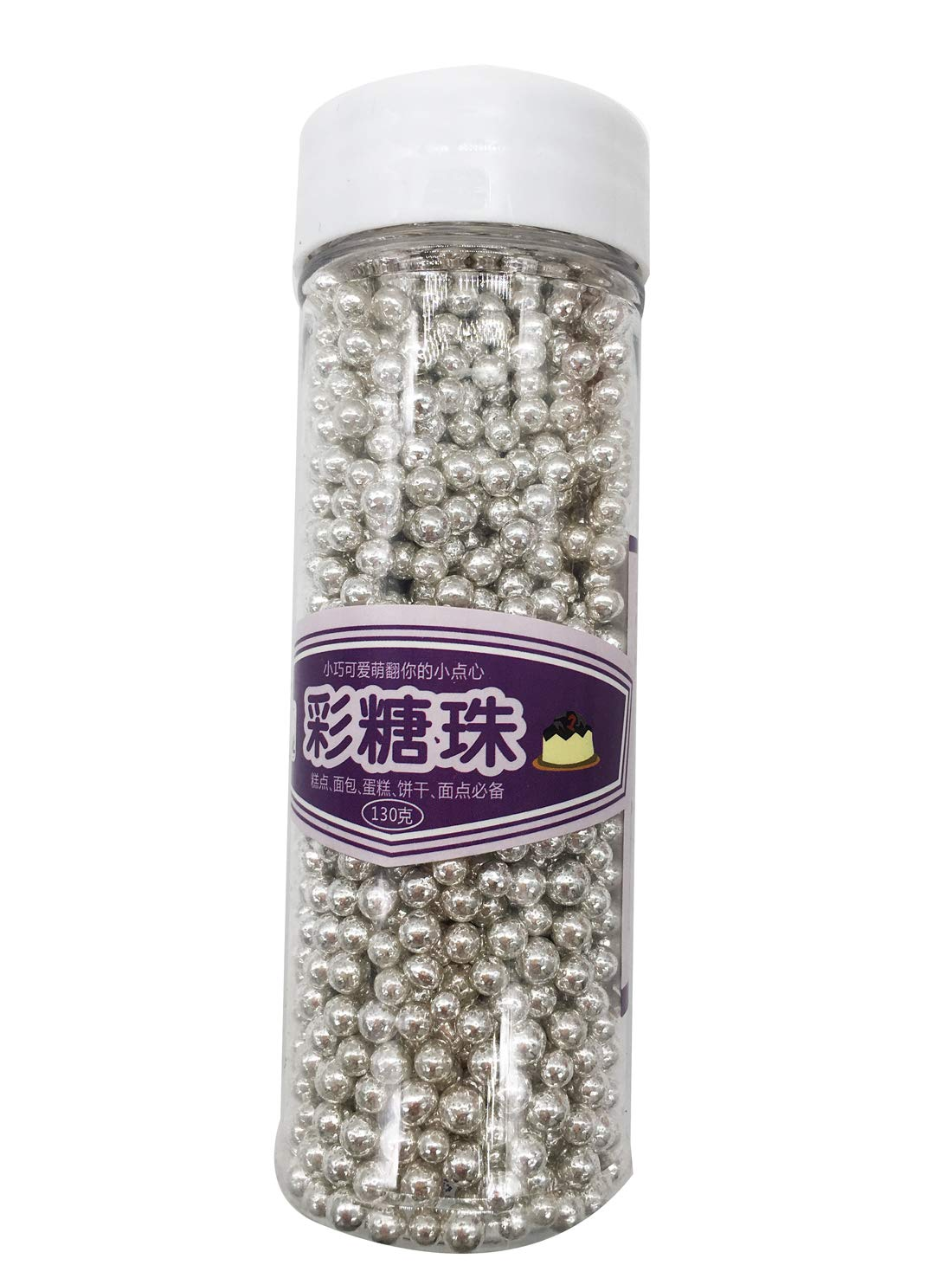 Gold Edible Candy Mini Pearls Cupcake Cake Toppers, Celebrations Candy Pearls Shaker Jar Wedding Shower Party Cake Food Decoration Supplies 4.6oz 4mm (Silver)