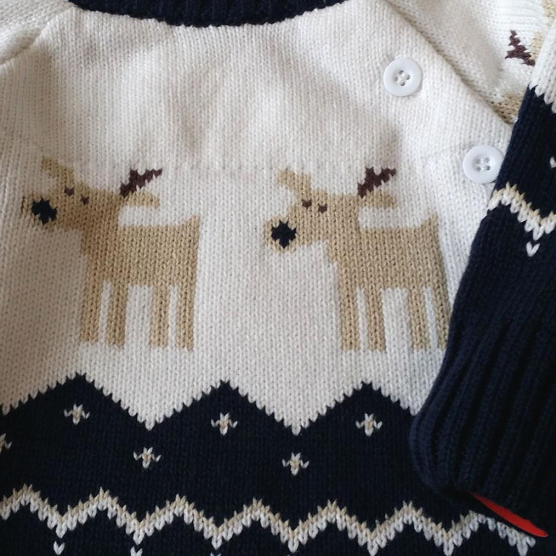 WARMSHOP Christmas Deer Clothes Baby Romper Long Sleeve Knitted Cotton Outfit Cloth
