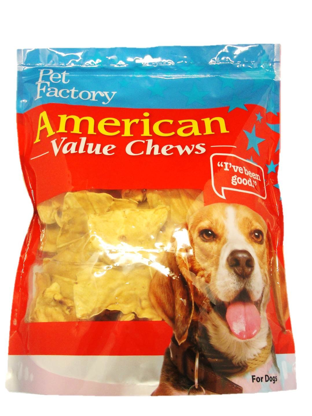 Pet Factory American Beef Hide Chicken Flavored Chips Chews For Dogs, Medium/30 Oz by Pet Factory