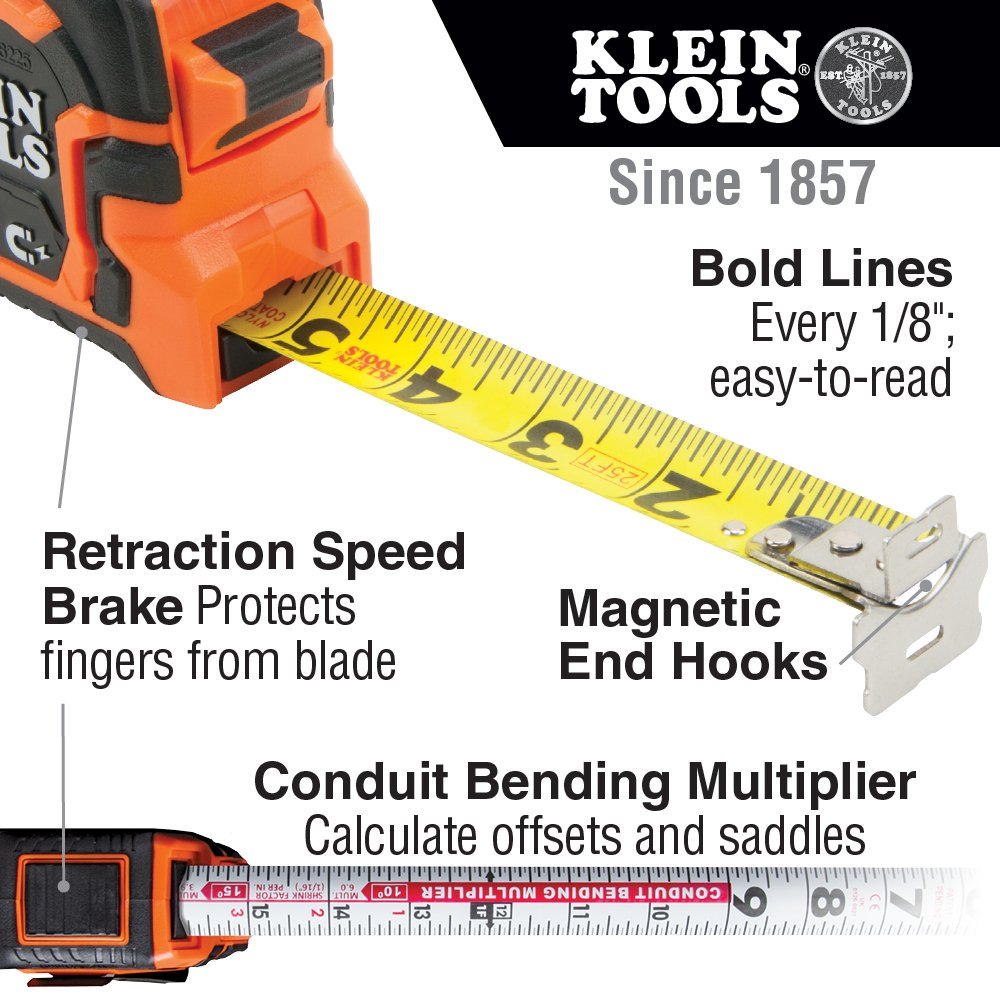 Tape Measure, 25-Foot Double Hook Magnetic with Finger Brake, Easy to Read Bold Lines Klein Tools 86225 by Klein Tools (Image #2)