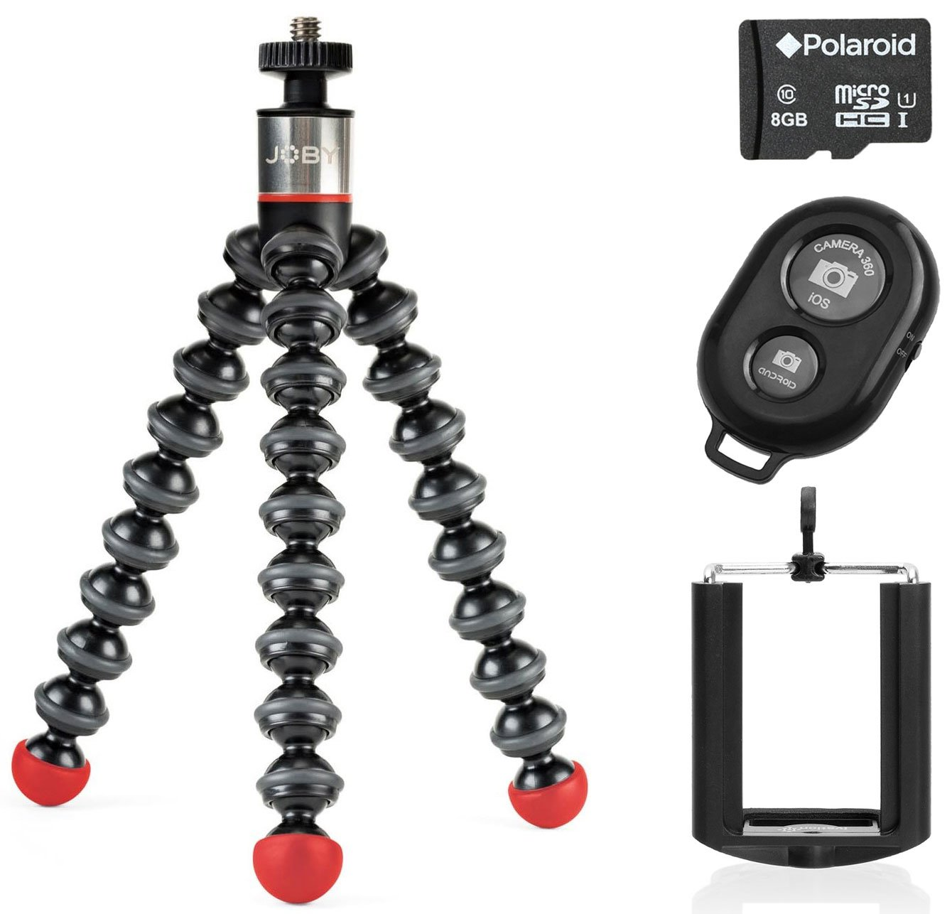 Joby GorillaPod Magnetic Tripod with Wireless Bluetooth Camera Shutter Remote Control for Apple and Android Phones and Universal Tripod Mount for Smartphones w/a 8GB Micro SDHC Class 10 Memory Card
