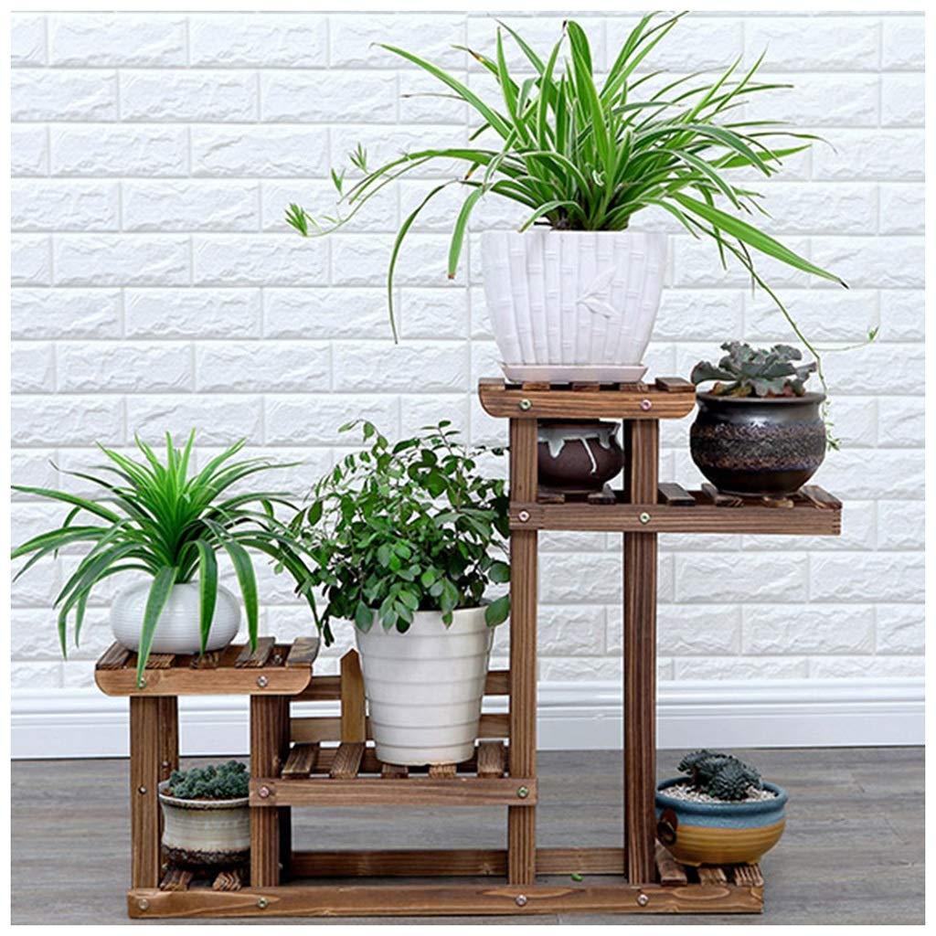 MeiMei Flower Shelf Multi-Layer Indoor Balcony Shelf Living Room Solid Wood Landing Ringhiera Piante grasse Pianta di ravanello verde (Colore   Marronee)