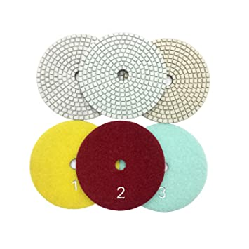 Diamond Polishing Pads 4 inch Wet 3 STEP SET Granite Stone Concrete Marble