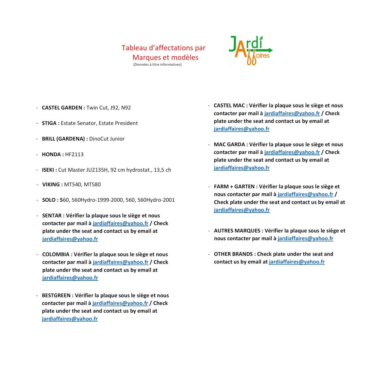 Jardiaffaires - Kit de Cuchillas con Soportes y Correa para Castel ...