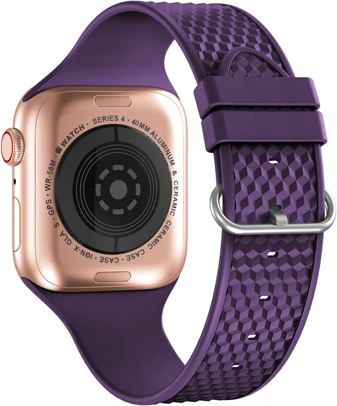 iWabcertoo Compatible with Apple Watch Bands 38mm 40mm, Soft Silicone Sport Watch Bands Wristband Replacement Strap for iWatch Series 6 5 4 3 2 1, SE, Sport Edition, Women Men (Dark Purple)