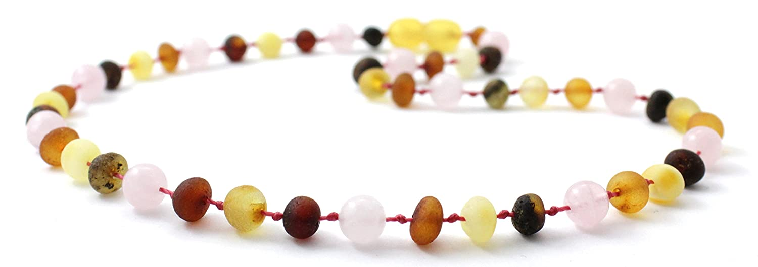 Raw Baltic Amber Teething Necklace made with Rose Quartz Beads - Size 12.5 inches (32 cm) - Unpolished Multicolor Baltic Amber Beads - BoutiqueAmber (12.5 inches, Raw Multi / Quartz)