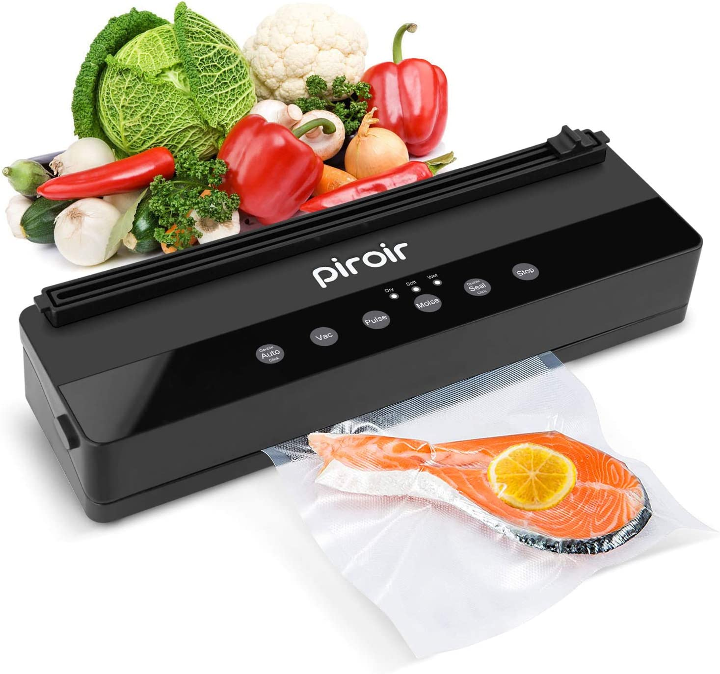 Piroir Vacuum Sealer Machine|Automatic Vacuum Air Sealing System For Food Preservation|Built-in Cutter| Starter Kit|Led Indicator Lights | Dry & Moist Food Modes| Compact Design 1 Roll Vacuum Bag+5 Bags
