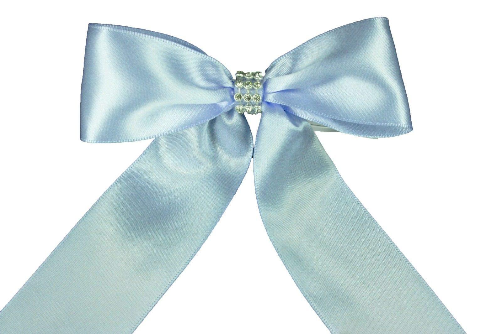 Light Blue (Set of 10) Pre-Made 1-1/2'' Satin Bows Rhinestone Center Design with Wire Tie #DPNH
