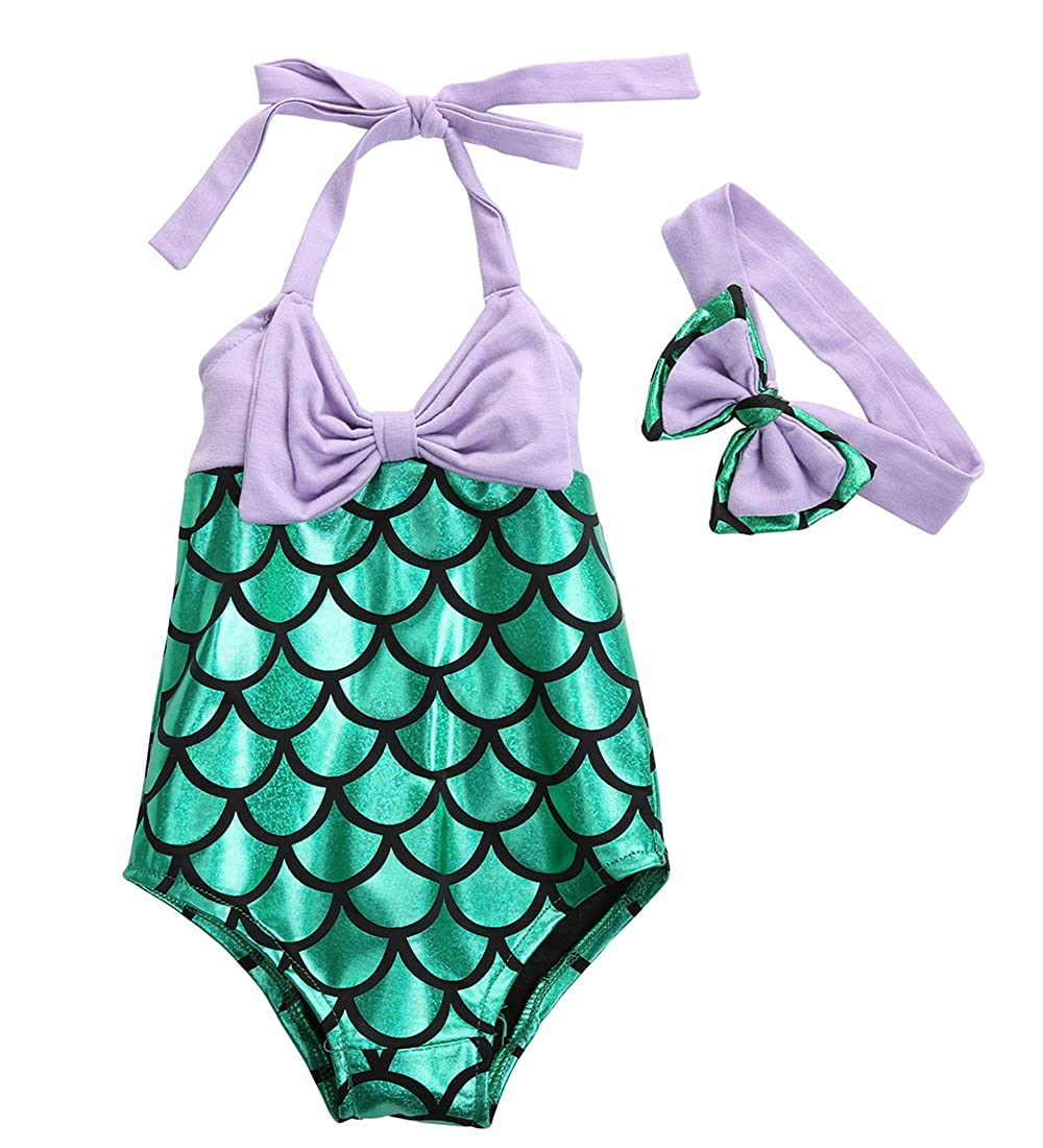 Canis Little Girls Mermaid One-Piece Swimsuit + Bowknot Headband