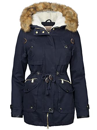 c857f09ba646 S West Damen Winterjacke Baumwolle Teddy Fell Military Style Cotton Parka  Mantel, Farbe