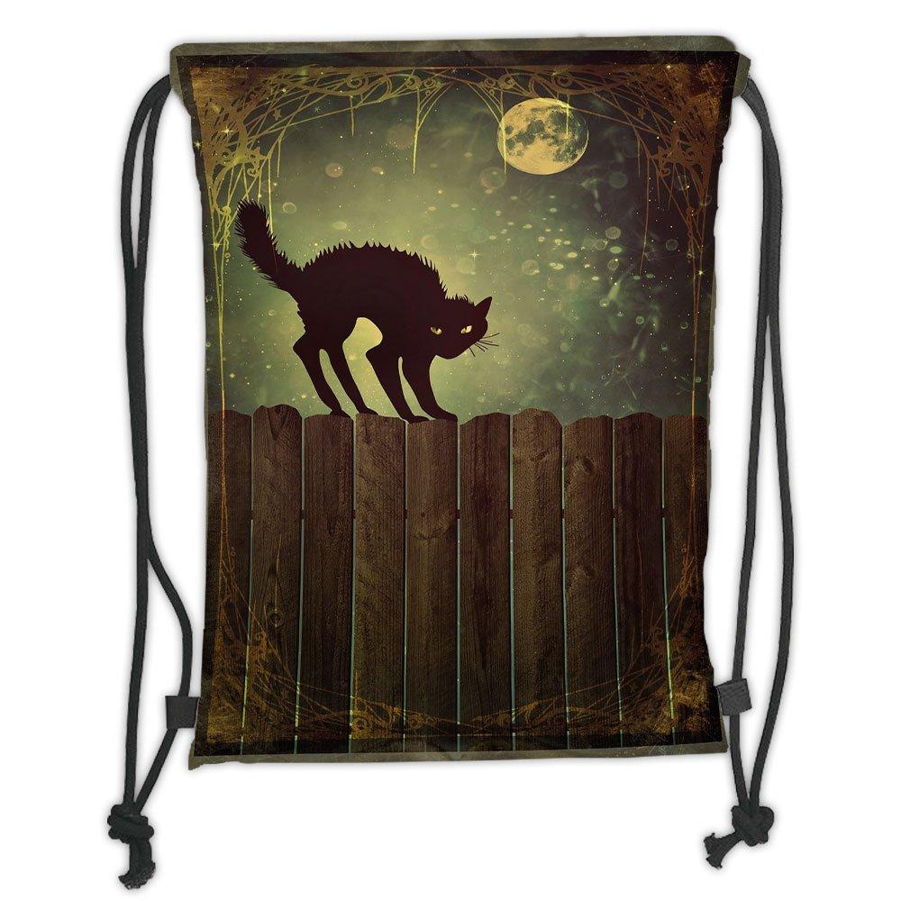 high-quality Custom Printed Drawstring Sack Backpacks Bags,Halloween,Angry Aggressive Cat on Old Wood Fences at Night Framework Eerie Vintage Print Decorative,MulticolorSoft Satin,5 Liter Capacity,Adjustable Stri