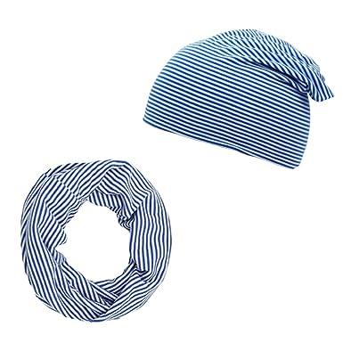 ac78be3d938 Sonia Originelli Set Loop und Beanie Uni Streifen Sommer Jersey Maritim  Farbe Blau