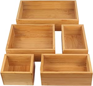 5-Piece Storage Box Dividers Set & Drawer Organizer with 100% Natural Bamboo, Silverware Tray for Office Desk Supplies and Accessories, Bathroom & Kitchen