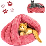 Cat Bed Soft Fleece Cat Sleeping Bed Shearling Bed Cave for Cat Puppy Rabbit Small Animals