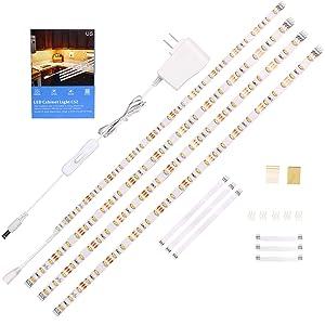 WOBANE LED Under Cabinet Lighting Kit,Flexible LED Ribbon Lights Bar,Under Counter Lights For Kitchen,Cupboard,Desk,Showcase,Shelf,6.6 Feet Rope Light Set,UL Listed,120 LED,1200lm,6000K White,4 Panel