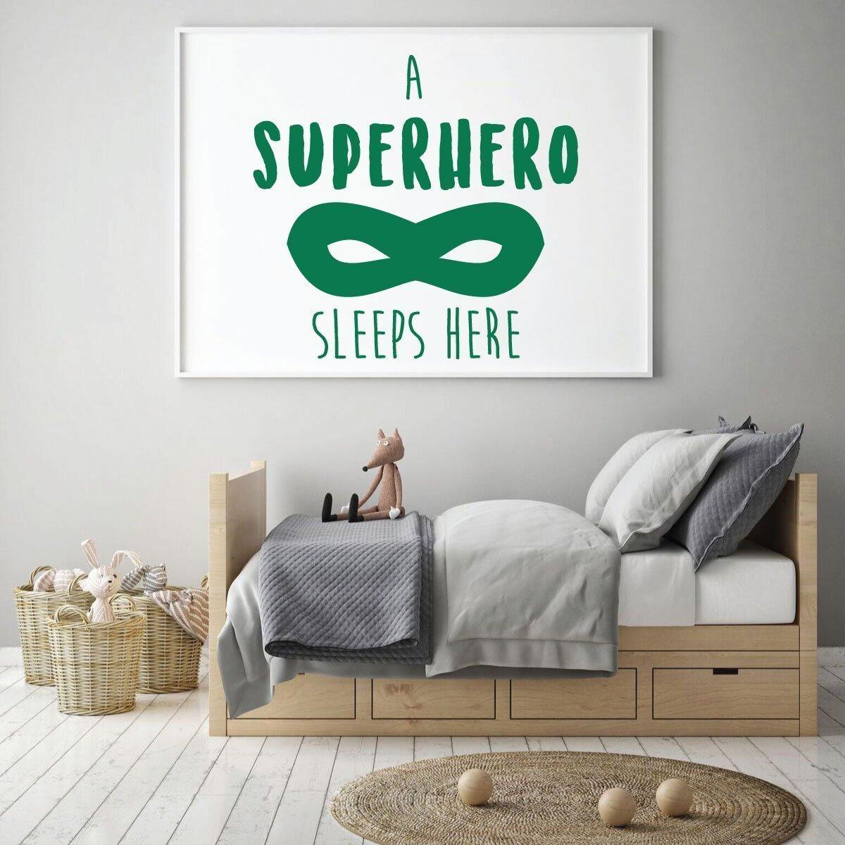 Amazon.com: Children\'s Room Wall Decal - A Superhero Sleeps Here ...