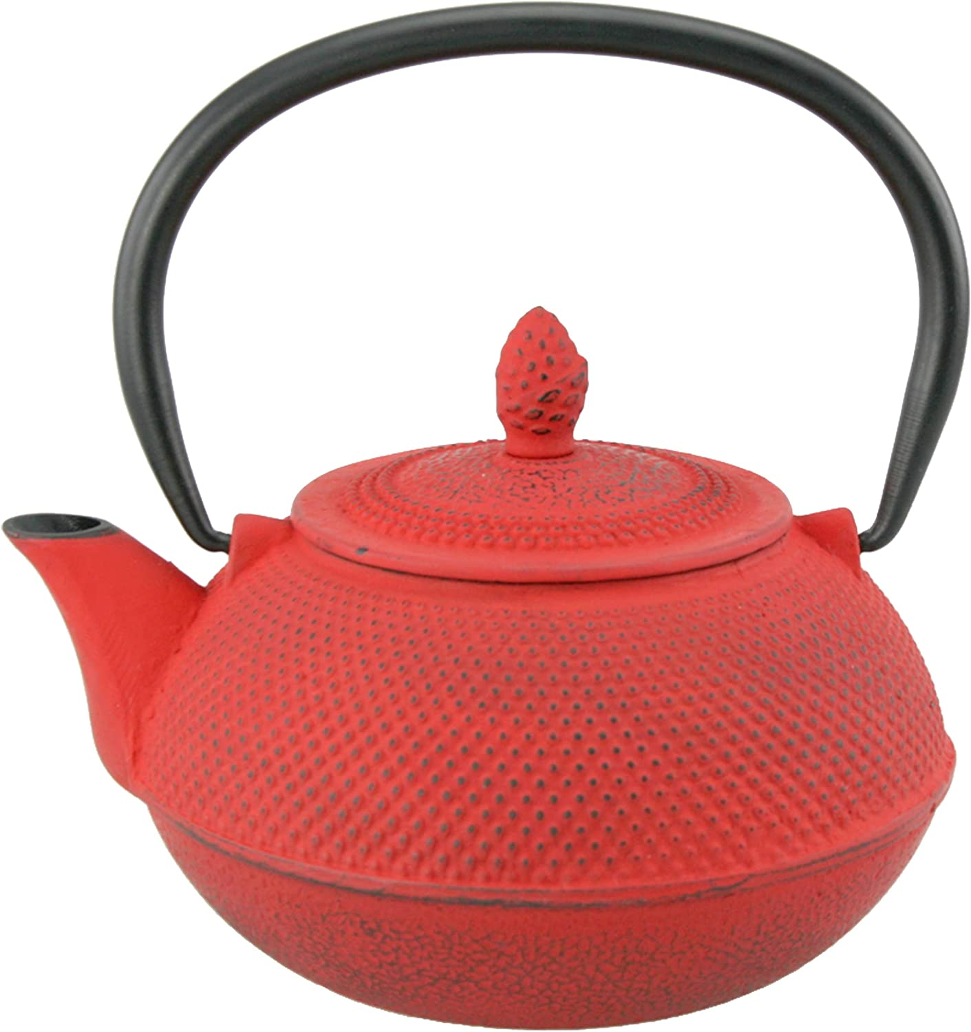 Creative Home Kyusu 30 oz. Cast Iron Tea Pot with Removable Stainless Steel Infuser Basket, Red