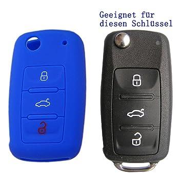 RotSale Carcasa de silicona para llave de coche con 3 botones; compatible con Volkswagen, Seat o Skoda; 1 unidad