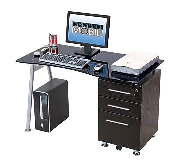 Scrivania Pc Vetro.Scrivania Porta Computer Pc In Acciaio E Vetro Con Cassettiera My Office Record Nero