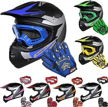 7-8 Yrs Red M } Child Dirt Bike Motorocycle Helmet Clothing Suit M Leopard LEO-X19 PREDATOR { Kids Motocross Helmet /& Gloves /& Goggles