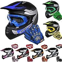 Leopard LEO-X19 Kinder Motocross MX Helm { Motorradhelm + Handschuhe + Brille} ECE Genehmigt Crosshelm Kinderquad Off Road Enduro Sport