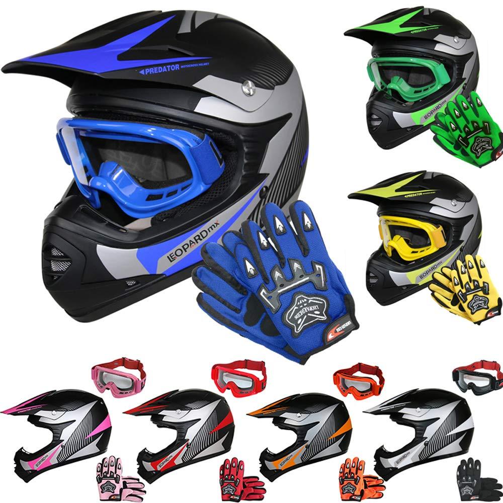 Children Quad Bike ATV Go Karting Helmet 55cm Leopard LEO-X19 PREDATOR Kids Motocross HELMET /& GLOVES /& GOGGLES Blue XL