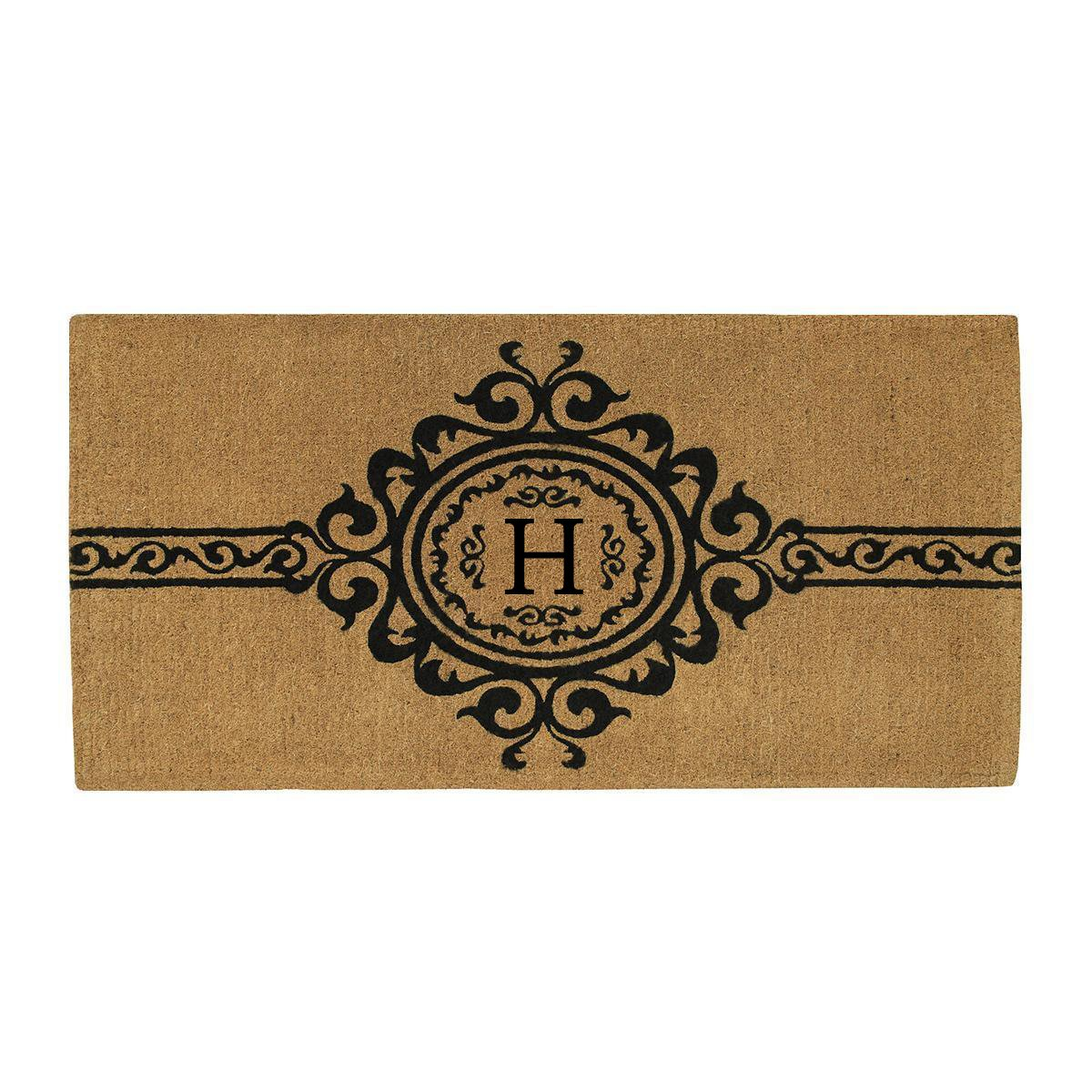 Home & More 180073672H Garbo Extra-thick Doormat, 36'' x 72'' x 1.50'', Monogrammed Letter H, Natural/Black