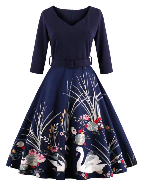 Babyonlinedress Vestido de otoño verano estilo vintage y elegante cuello de corazón manga 3/4
