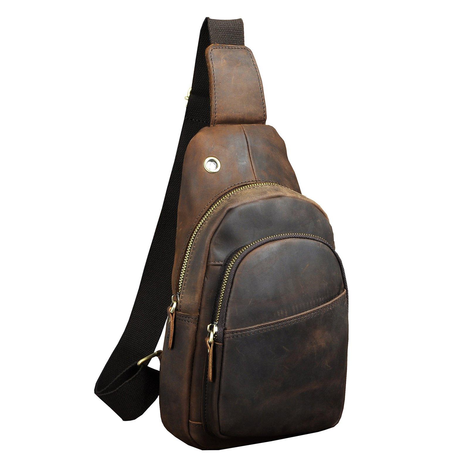 Le'aokuu Mens Outdoor Casual Tea Travel Hiking Crossbody Chest Sling Bag Rig One Shoulder Strap Bag Backpack Men Leather (X 008 dark brown 2)