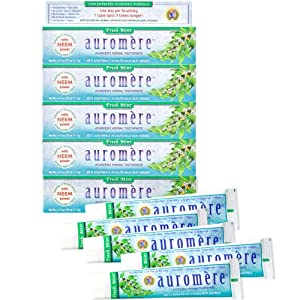 Auromere Ayurvedic Herbal Toothpaste, Fresh Mint - Vegan, Natural, Non GMO, Flouride Free, Gluten Free, with Neem & Peelu (4.16 oz), 5 Pack