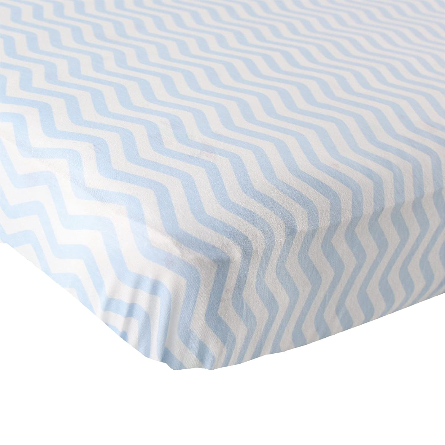 Luvable Friends Fitted Knit Cotton Crib Sheet, Blue Chevron BabyVision 40125_BlueChevron
