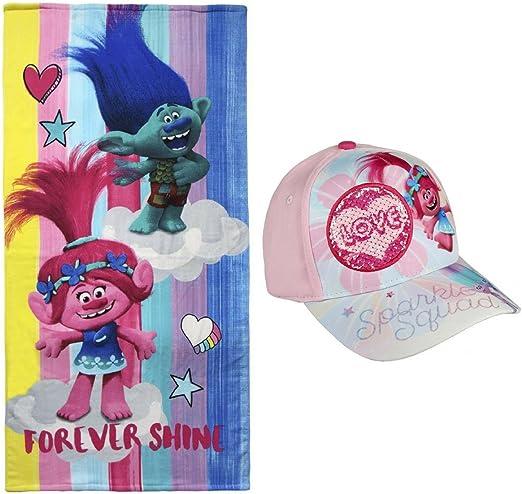 Toalla de Playa niña Trolls + Gorra premium y pegatinas de regalo ...