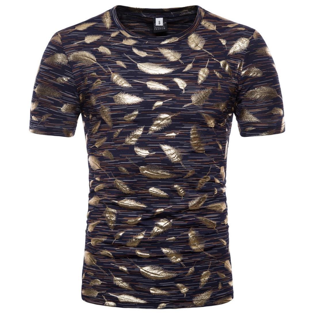 Sannysis Hombre Camiseta, Casual Delgado Manga Corta Blusa Estampada Blusa Superior Camisetas Hombre Algodón Verano Manga Corta Rayas Polos Casual Camisas