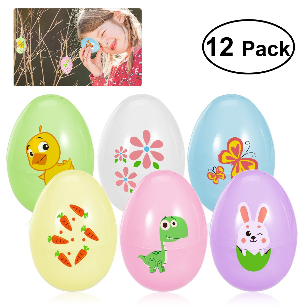 TENDYCOCO Toy Filled Easter Eggs Plastic Coloring Easter ...