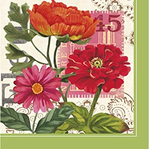 Cypress Home Botanical Garden Poppies Paper Cocktail Napkin, 20 count