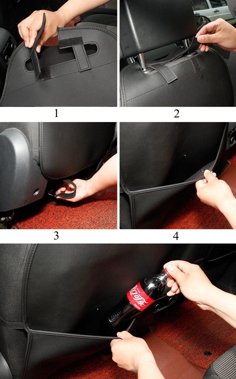 HCMAX 2 Pack Premium Kick Mat Car Seat Back Protector Waterproof Easy to Clean Multifunctional Organizer Storage Bag Travel Accessory PU Leather Brown