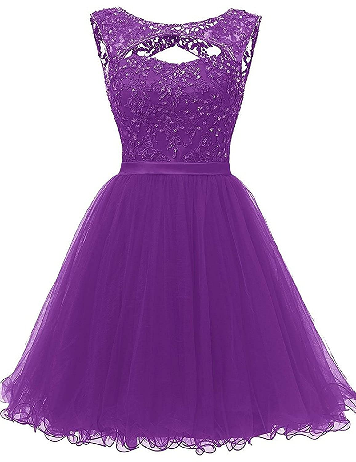 Purple Caissen Women's Short Ball Gown Round Neck Beading Appliques Tulle Cocktail Dresses Open Back with Zipper Dance Dress