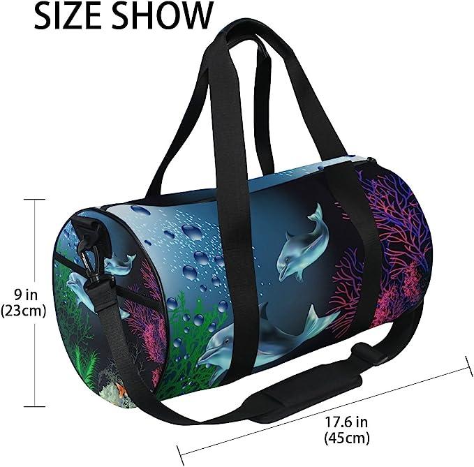 AHOMY Canvas Sports Gym Bag Coral Whale Seaweed Duffel Bag Travel Shoulder Bag
