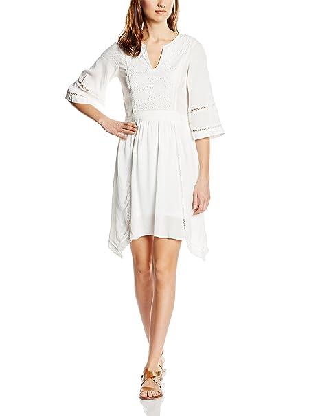 Cortefiel Fluid Dress Laces, Vestido para Mujer, Beige, L