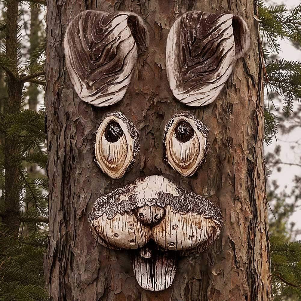 Funny Rabbit Tree Hugger, Garden Peeker Yard Art Decorations -Tree Faces Outdoor Decor- Garden Sculptures