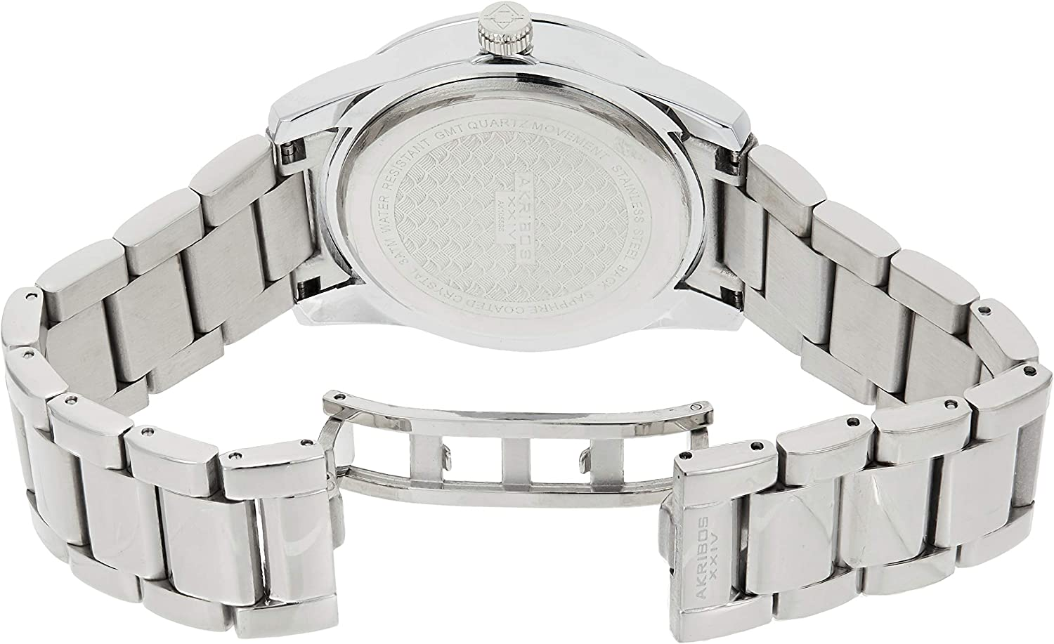 Akribos XXIV Women's Diamond Watch - Crystal Pave Dial and Bezel with Date Window On Stainless Steel Bracelet - AK487 Stainless Steel